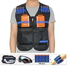 Kids Tactical Vest Sets for Nerf Toy Guns N-strike Elite - Black (comes with Seamless Skull Face Mask+Windproof Goggles+50pcs Foam Darts+2pcs 5-dart Quick Reload Clip+2pcs Refill Darts Wrist Belt)