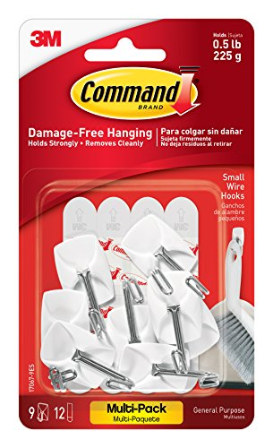 Command Wire Hooks Value Pack, Small, White, 9-Hooks (17067-9ES)