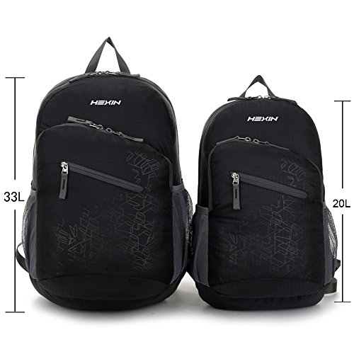 HEXIN Waterproof Rated 20L//33L Lightweight Foldable Backpack Hiking Daypack