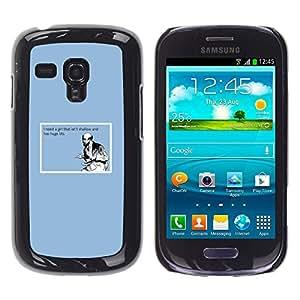 Qstar Arte & diseño plástico duro Fundas Cover Cubre Hard Case Cover para Samsung Galaxy S3 III MINI (NOT REGULAR!) / I8190 / I8190N ( Shallow Girl Quote Funny Big Tits Man Love Life)