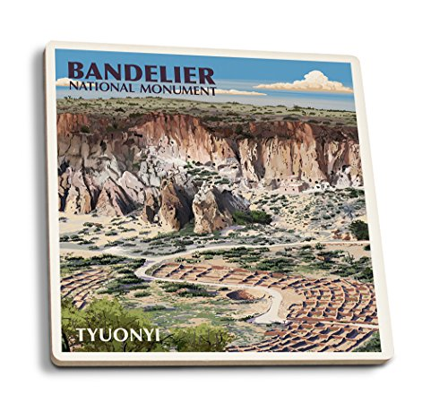 Lantern Press Bandelier National Monument, New Mexico - Tyuonyi Aerial View (Set of 4 Ceramic Coasters - Cork-Backed, Absorbent) ()