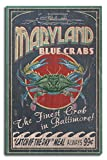 blue crab decor - Baltimore, Maryland - Blue Crabs Vintage Sign (10x15 Wood Wall Sign, Wall Decor Ready to Hang)