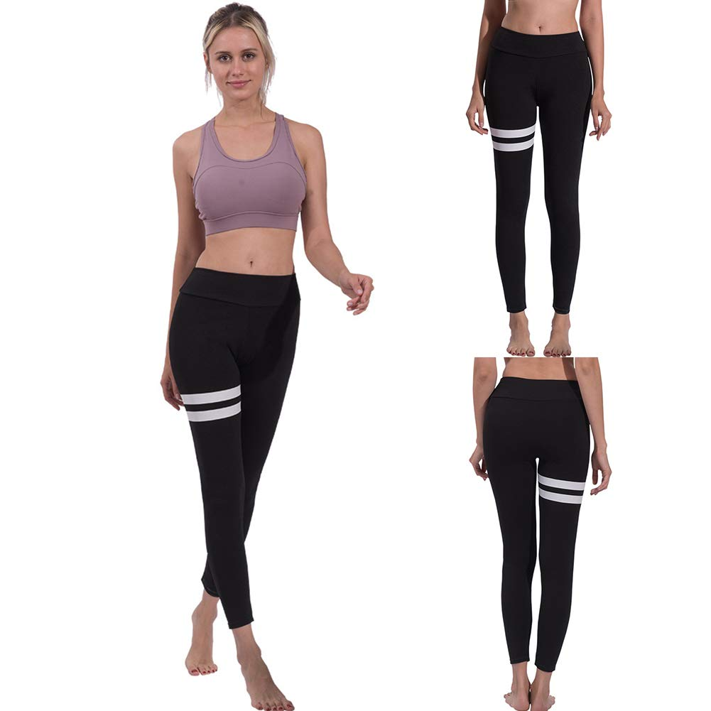 [Yoga Pants For Women]-Simple Striped Sports Women Push Up Leggings High Waist Yoga Pants Slim Tights Christmas gifts