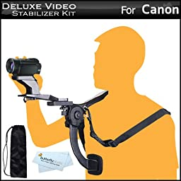 Deluxe Hands Free Video Shoulder Mount Stabilizer Support Rig + Carrying Case For Canon VIXIA HF R82, HF R80, R800, HF G30, HF G20, HF G40, HF R60, HF R62, HF R600, HF R700, HF R72, HF R70 Camcorder