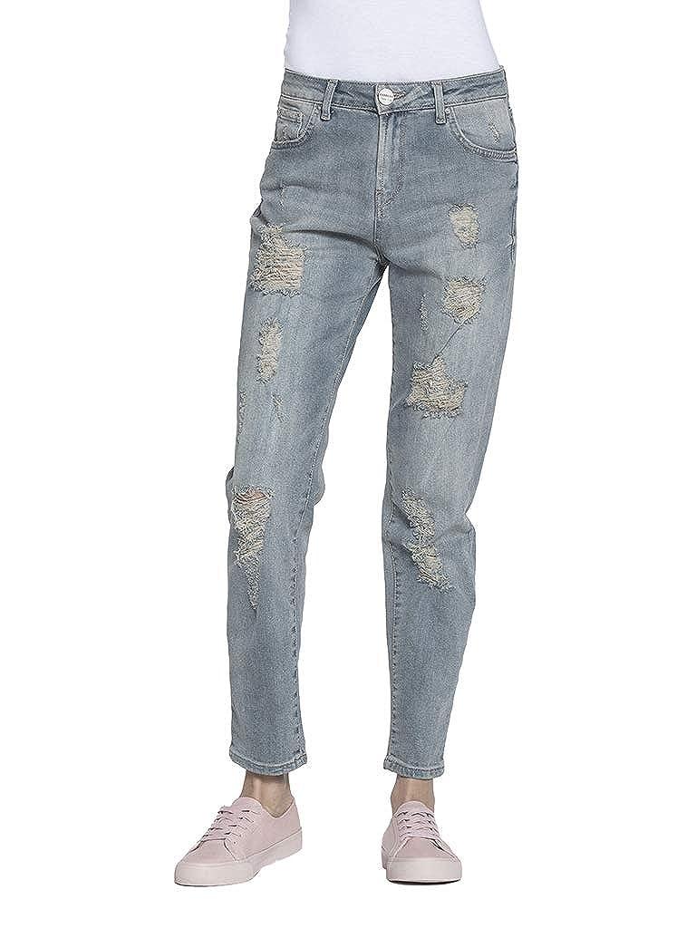TALLA ES 40 (talla del fabricante: IT 42). Carrera Jeans - Jeans 753 para Mujer, Estilo Recto, con Bordados, Tejido Extensible, Ajuste Regular, Cintura Normal