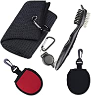 Golf Club Towels, Golf Club Cleaning Kit, Retractable Golf Club Cleaning Brushes, 2 Golf Ball Cleaning Pouch,
