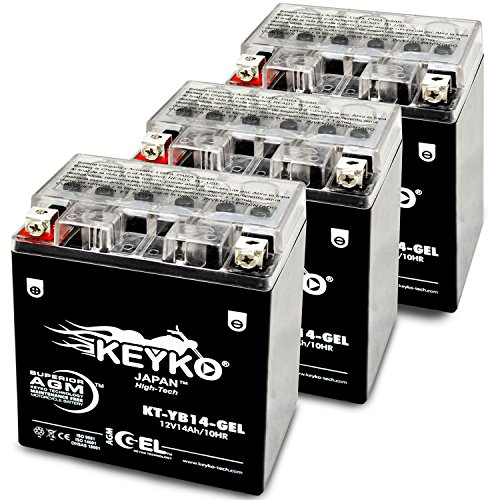 Polaris Sportsman, 2010 Battery YTX14AHL Maintenance Free Battery AGM / GEL Motorcycle Extreme High Performance Replacement Genuine KEYKO - 3 Pack