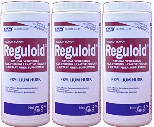 Reguloid Psyllium Husk Natural Vegetable Bulk Forming Laxative Fiber Supplement Powder Generic for Metamucil 13 oz. per Bottle by RUGBY LABORATORIES (Forming Fiber Laxative)