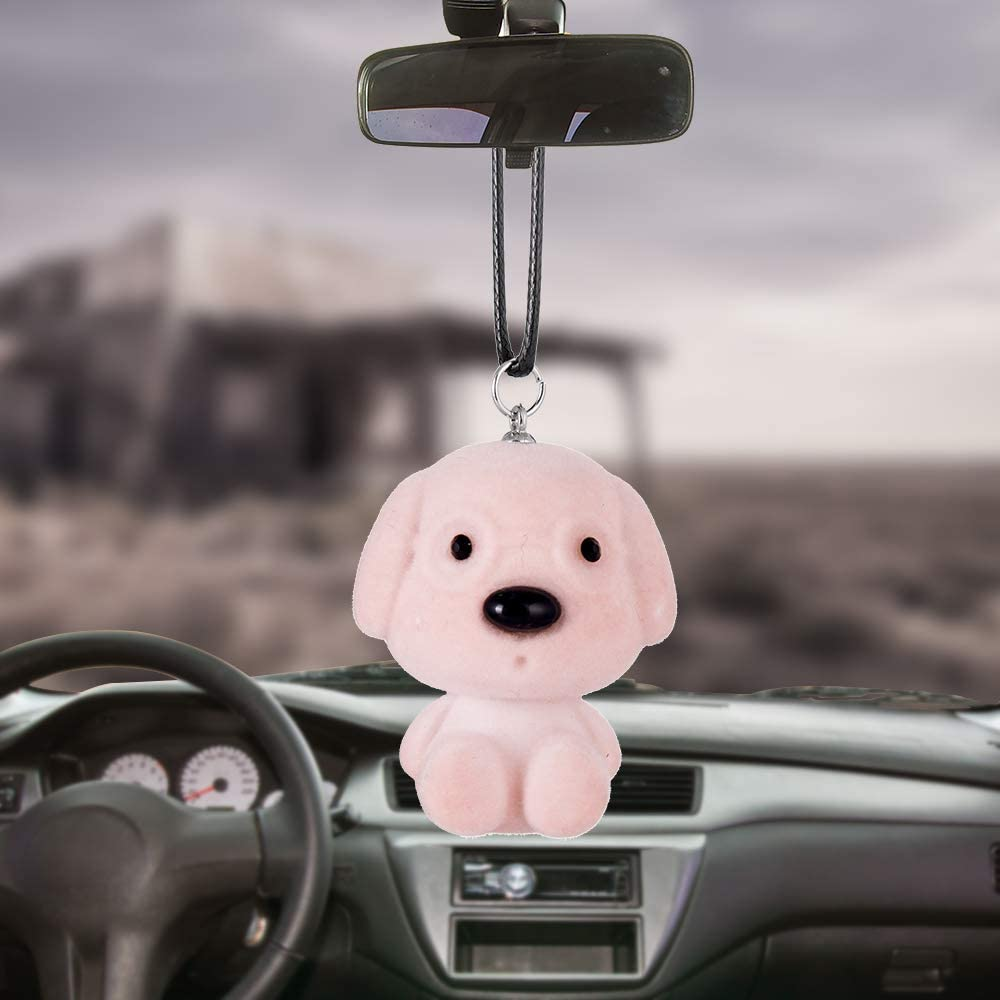 Light Pink Automotive Pendant Car Rear View Mirror Charms Accessories Car Decorations Hanging Ornaments Dog Cute Decoration of Brooches Key Chains