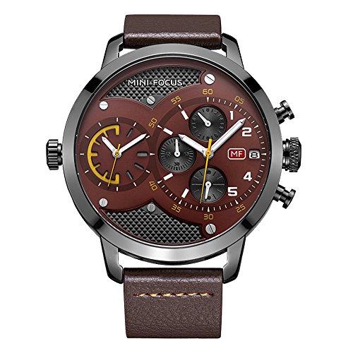 Men s Quartz Watches Waterproof Business Wristwatch, Leather Straps, Dual Core Dual Time Zone, Big Dial
