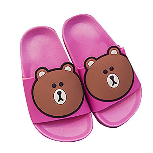 Kaimao Children Anti-slip Slippers Cartoon Bear Indoor Outdoor Sandals (Toddler/Little Kid/Big Kid) - Rose Red