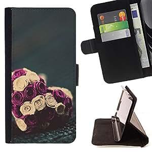Ihec-Tech / Negro Flip PU Cuero Cover Case para LG G2 D800 - Valentines bouquet floral
