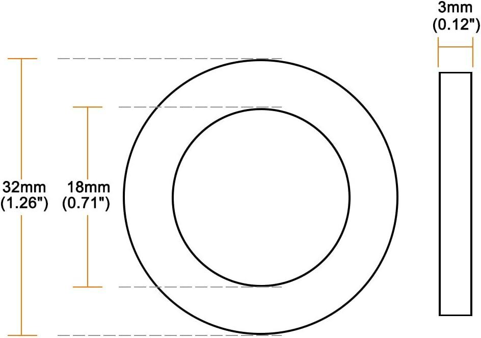 sourcing map Nylon Rondelle Plate Pour M10 Vis Boulon 20mm OD 2mm /épais 100Pcs