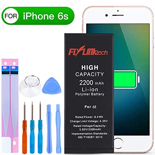 Flylinktech for iPhone 6S Battery Replacement, 2200mAh High Capacity Li-ion Battery with Repair Tool Kit -Included 24 Months Warranty ()
