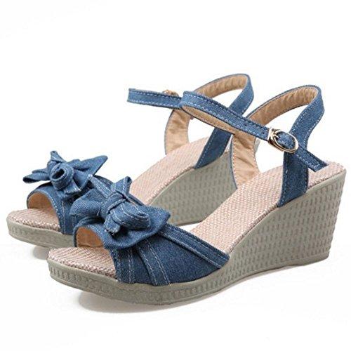 COOLCEPT Mujer Moda Correa de Tobillo Sandalias Punta Abierta Wedge Zapatos con Bowknot Oscuro Azul