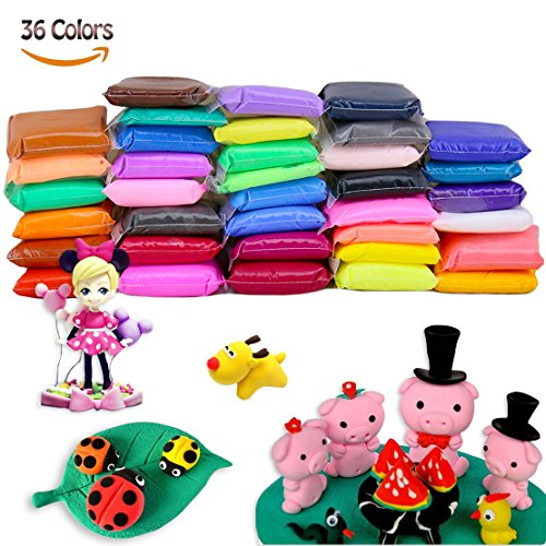 36 Colours Polymer Clay Modeling Clay Soft Moulding Craft Plasticine Alternative, Sculpture Tool set…