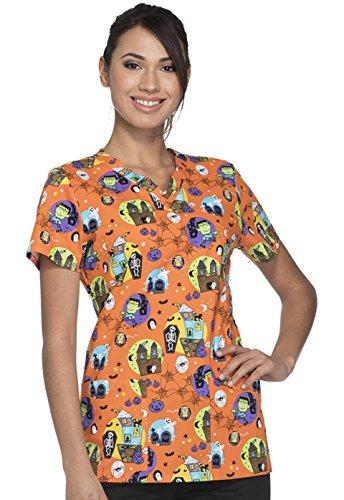 DK704 HANH M Dickies Women's Scrub Nurses V-Neck Top Halloween (Halloween Ladies Night)
