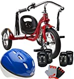 Schwinn Bundle Includes 3 Items Roadster 12-Inch Trike (Red) Child's Pad Set with Knee Elbow and Gloves and Bell Toddler Boys Shadow Helmet, Blue