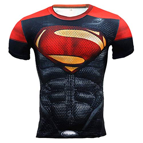 Cool Mens Short Sleeve Red Compression Workouts T Shirt 2XL ()