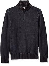Calvin Klein Jeans Men\'s Speckle Plated Quarter Zip Sweater, Black, LARGE