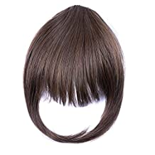 Ty.Hermenlisa Clip in Hair Bang Synthetic Heat Resistant Fiber Fringe Hair Extensions Hairpieces,1 Pc,20g,Taylor-Chocolate Brown (#F30.6H)
