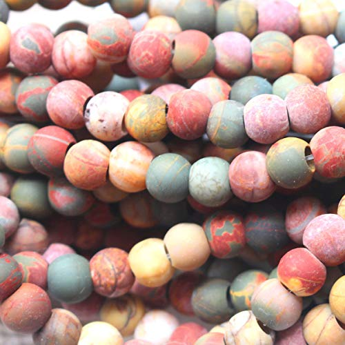Natural Large Hole Gemstone Round 8mm 10mm Fit Leather Cords for DIY Necklace Gemstone Loose Beads (Matte Picasso Jasper, 8mm 4mm Hole)