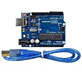 arduino circuit board - kuman UNO R3 Board ATmega328P with USB Cable for Arduino - Compatible With Arduino UNO R3 Mega 2560 Nano Robot for Arduino IDE AVR MCU Learner K53