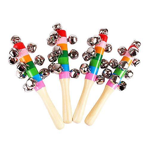 KOBWA 4 Campanas de Mano de Madera con Cascabel, Colores Vivos, Mango de arcoíris, sonajero para bebés y niños, Juguetes...