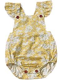 bdd4b6cc8aa Kids Newborn Infant Baby Girls Jumpsuit Romper Outfits Floral Print Buttons  Ruffles Bodysuit Summer Clothes Set