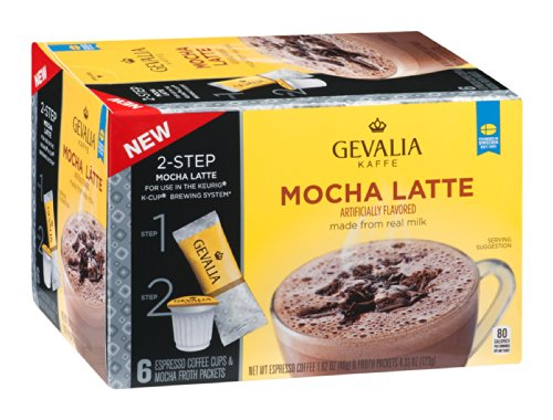 Gevalia Kaffe 2-Step Espresso Coffee Cups & Froth Packets Mocha Latte 5.95 OZ (Pack of 12) by Gevalia