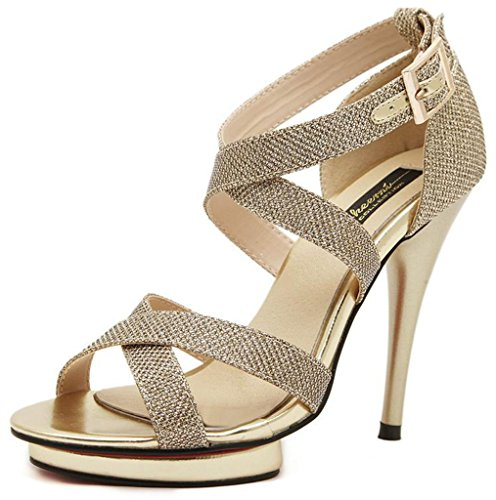 Littleboutique Women Fashion Open Toe Sexy Strappy Stiletto Sandals Golden Evening Party Shoes High Heels gold 7