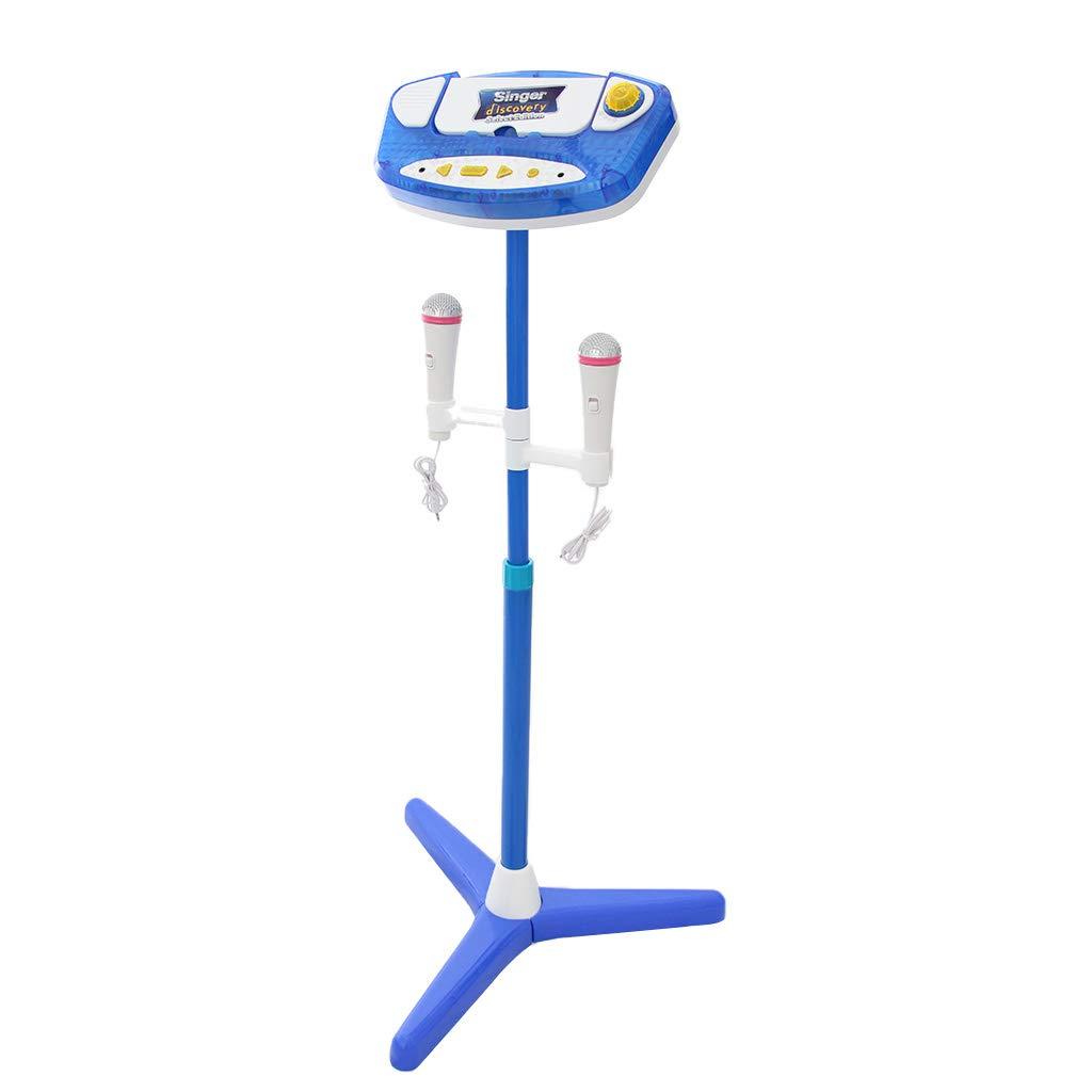 B Blesiya Musik Karaoke Maschine & Mikrofon mit Ständer Spielzeug für Kinder - Blau