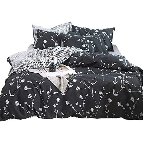 VClife Cotton Bedding Duvet Cover Sets Dark Gray White Flower Branches Boho Floral Bedding Sets Queen Full 1 Duvet Cover 2 Pillowcases Wrinkle Satin Fade Resistant Hypoallergenic Lightweight Soft