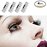 FTLL False Magnetic Eyelashes, 0.2mm Ultra Thin Newest 3D Reusable False Magnetic Eyelashes for Eye Natural Look ( 1 Pair 4 Pieces )