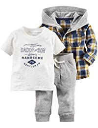 Carter's Baby Boys' 3 Piece Cardigan Set Navy/Yellow Shirt 9M