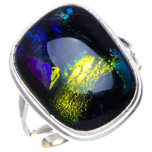 (Natural Rainbow Dichroic Glass Handmade Unique 925 Sterling Silver Ring 8 B1053)