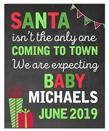Christmas Pregnancy Announcement Paper Art Print | Pregnancy Announcement Sign | Baby Announcement Photo Prop | Baby on the Way Sign | New Baby Sign