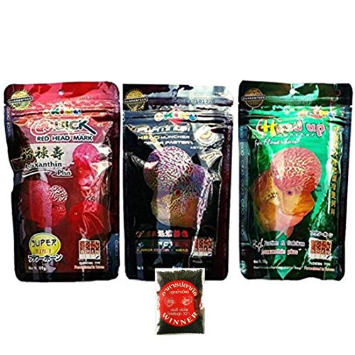 OKIKO Flowerhorn Fish Food Cichlid Quick Red Mark Head Up Huncher Platinum and Color Faster Set 3 of XL Pellets 3.5 oz 100g