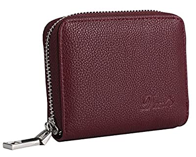 Dante RFID Blocking Wax Real Leather Zip Around Wallet Clutch Large Travel Purse for Women(Rose Red)