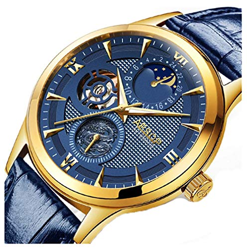 - Mens Automatic Mechanical Watch Moon Phase Gold Plated Case Skeleton Male Waterproof Leather Wristwatch (Blue)