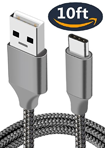 Charger Cable,USB Type C,10FT,Long Braide,Fast Charging Cord for Samsung S9 S8 Plus,Note 9 8,Google Pixel 2 3 XL,LG V35 V30S G7 THINQ V30,Moto G6 Z3,OnePlus 6T 6,ZTE Axon Blade X Max 2S,iPad Pro 2018