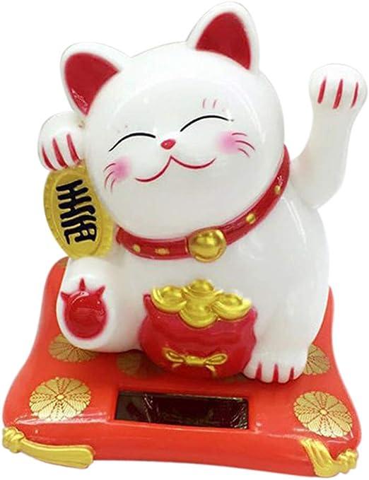 Solar Power Maneki Neko Lucky Cat Shaking Hands Figure Toy Home Decor White
