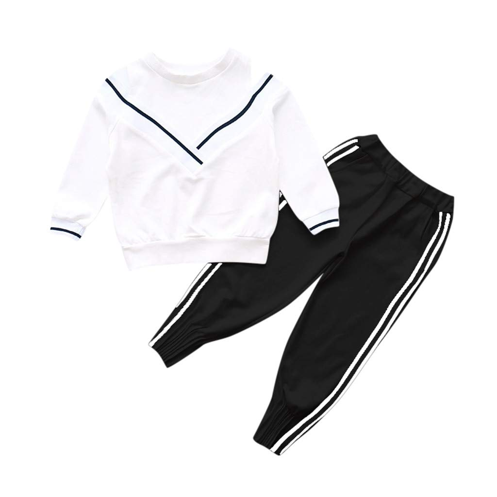 Fineser Fashion Big Girls Sports Suits Off Shoulder Clothing Set for Teenage Autumn Tracksuit Kids Plus Size Sportswear (White, 5-7 Years(130)) by Fineser Baby Clothes