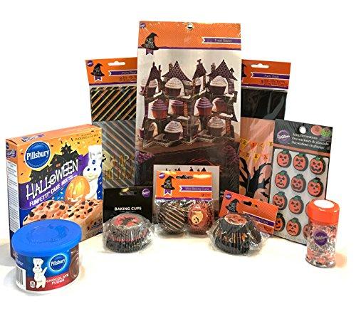 Halloween Baking and Treat Kits! Halloween Cupcake Mix, Halloween Cookie Cutters, Halloween Treat Bags - Halloween Party Supplies! (Halloween Cupcake Kit - Wilton Haunted Baking Kit)