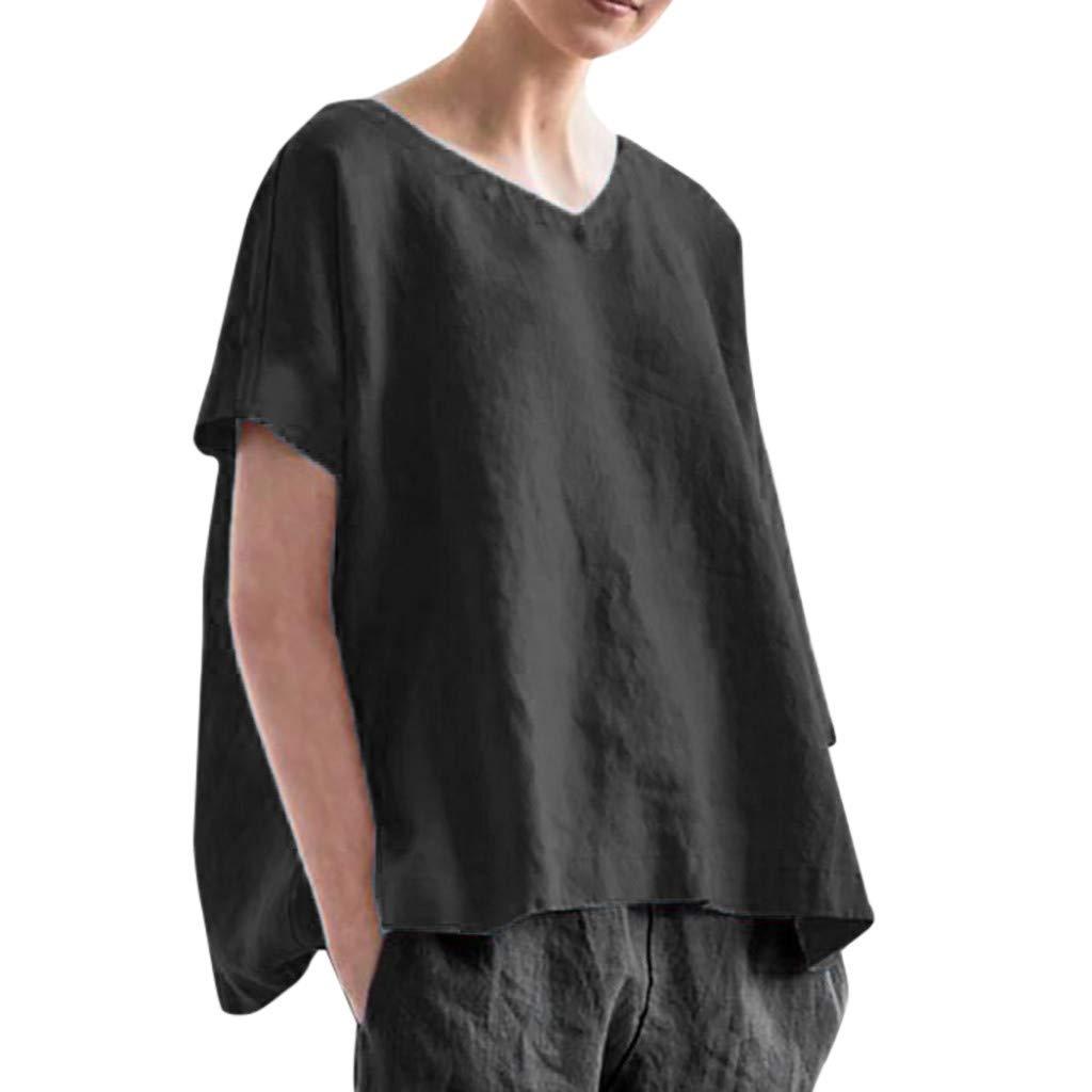 CUCUHAM Women Fashion Solid Loose Short Sleeve Linen Casual Top Blouse T-Shirt