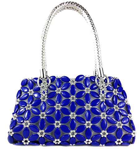 Shoulder Handmade Beaded Bag Women Fashion Satchel Purse Durable Blue