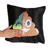 SMett Pillow Case - Shape Poo Emoji Face Reversible Mermaid Sequin Pillow Cushion Magic Double Case - 40CM x 40CM (Multicolor)