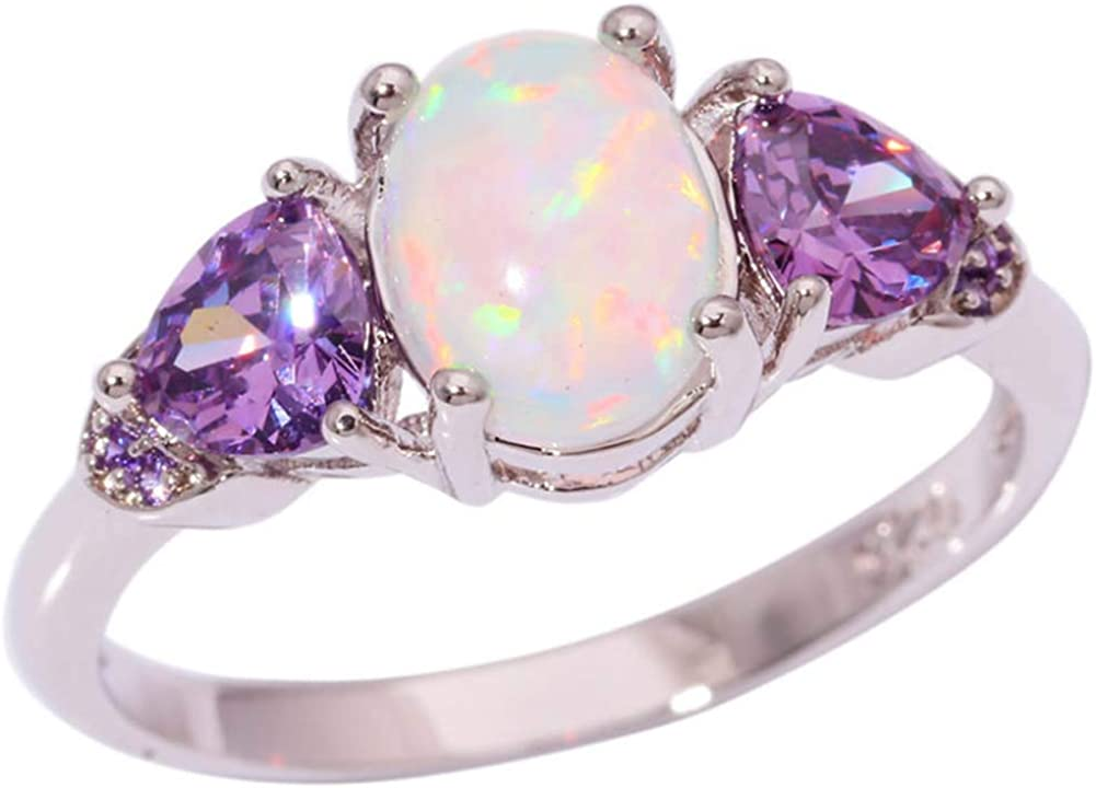 TFR Jewel Champagne Blue Fire Opal White Gold Filled Jewelry Vintage Ring for Women Wedding Rings