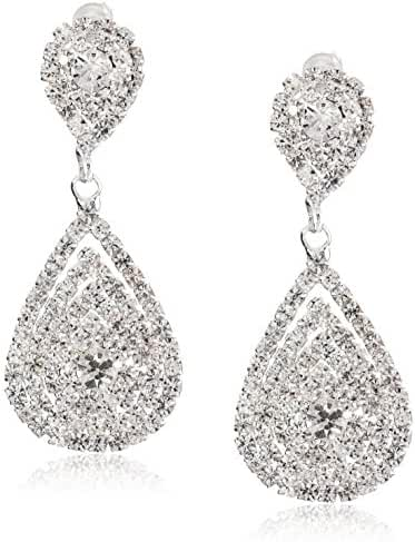 ACCESSORIESFOREVER Bridal Wedding Jewelry Beautiful Dazzle Crystal Dangle Fashion 3D Earring Silver