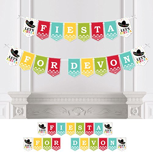 Big Dot of Happiness Custom Mexican Fiesta - Personalized Mexican Fiesta or Cinco de Mayo Party Bunting Banner - Fiesta Custom Name (Fiesta Party Personalized Banner)